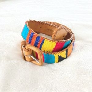 Vintage Threaded Multicolored Leather Belt
